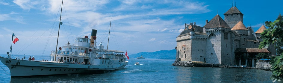 Chillon Castle near Montreux on Lake Geneva